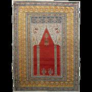 SALE PENDING Antique Turkish Prayer Rug / Carpet - c. late 19th Century, Turkey