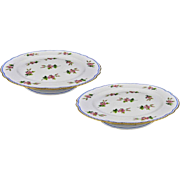Antique Pair French Old Paris Porcelain Compotes Footed Plates Clain Perrier  - c. 1900's, Fra