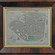 Antique Map of Brussels (Bruxelles) in Period Wood Frame - 1837, England