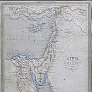 Antique Steel Engraved Colored Map of Ancient Syria and Egypt - 1840, France