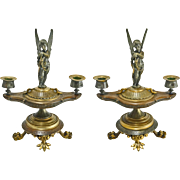 Pair Antique Figural Patinated Bronze Two Light Candelabra / Candlesticks with Winged Cupid on