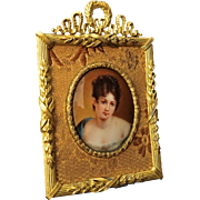 Miniature Portrait Painting on Porcelain of Madame Recamier after Francois Gerard