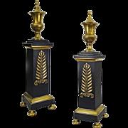 Pair Classical Andirons Black Bronze Federal Style Laurel Leaf