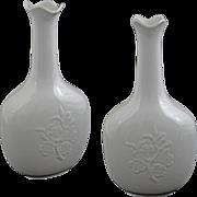 """Matched Pair Royal Copenhagen White on White Bottles 9.4"""" - 1944/1945, Denmark"""