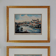 SOLD Pair Early French Landscape Lithographs by Marianne Colston - early 19th Century, England