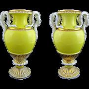 "Pair 11"" H Meissen Snake Handled Urns Vases Yellow Porcelain - 1850-1924, Germany"