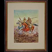"Watercolor after Giulio Rosati ""Fantasia"" Moroccan Horsemen at Full Gallop Signed Ar"