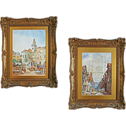 Pair of Watercolors of Italian Towns signed Jas. Holland - c. 19th Century, England