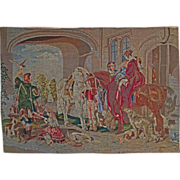 "Large 63""x45"" Needlepoint Tapestry / Wall Hanging English Hunt Scene after Sir Edwin"
