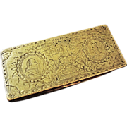 18th C. Dutch Tobacco Box Orangist Commemorative Engraved William V and Wilhemina Dated - c. 1