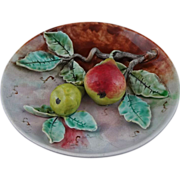 French Majolica Barbotine Fives Lille Cabinet Plate Pears