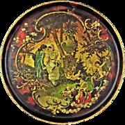 Antique English Decoupage Papier Mache Round Tray Courting Scene 11.75 Inch Diameter - 19th Ce