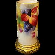 Royal Worcester Vase Berries Signed K. Blake Gilt Pierced Base - circa 1936, England