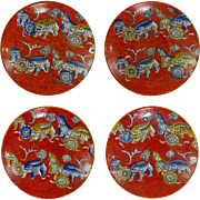 Set of 4 Antique Red Chinoiserie English Ashworth Ironstone Cups and Saucers - 1862 to 1880, E
