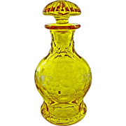 SOLD Bohemian Amber Cut Crystal Bottle / Decanter Original Stopper - c. 20th Century, Bohemia