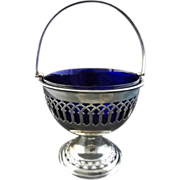 English Reticulated Silver Plate Sugar Round Basket with Cobalt Blue Glass Liner - c. 20h Cent