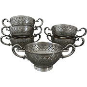 Set 6 Pierced Bouillon / Soup / Consomme Bowl Handled Holders - 1886 to 1928, USA
