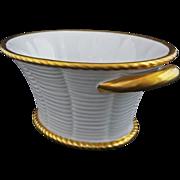 White and Gilt Porcelain Basket / Console  Bowl by Vista Alegre - 20th Century, Portugal