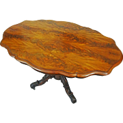 Burl Walnut Veneer English Victorian Breakfast Table on Casters Oval Shape Brass Casters - 19t