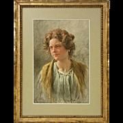 Venetian Watercolor Signed G. Vizzotto Alberti Genre Portrait Young Woman - 19th Century, Veni