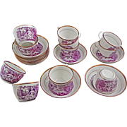 Set of Ten Antique English Printed Porcelain Cups and Saucer Puce Lusterware - c. 1820, Englan