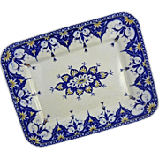 Sarrreguemines Cluny French Provence Faience Rectangular Serving Platter Blue White - 1875 to