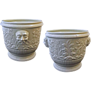 Pair Limoges after St Cloud Ceramic Wine Bottle Cooler / Cache Pot / Planter /Jardiniere - 20t