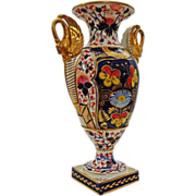 Royal Crown Derby King Street Imari Style Porcelain Vase / Urn with Gilt Swan Shape Handles -