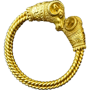 Ram's Head Twisted Body Bracelet Jewelry after Ancient Greek Design - 20th Century, USA