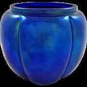 SOLD Blue Iridescent Art Glass Melon-Shaped Jar