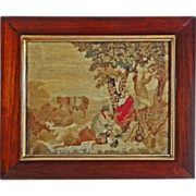 Antique Canvaswork / Needlework Picture Pastoral Group Framed - c. 19th Century