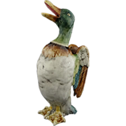 French Majolica Barbotine Georges Dreyfus Duck Flapping its Wings Pitcher - c. late 19th/early