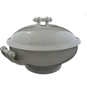 Antique Limoges White Lidded Bowl Bamboo / Rope Shaped Handles - 19th Century, France