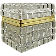 French Cut Crystal and Bronze Mount Rectangular Dresser Box / Casket with Hinged Lid - c. 20th