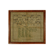 Embroidered Needlework Sampler Family Register Massachusetts / Maine Abishai Pease and Mary Ra