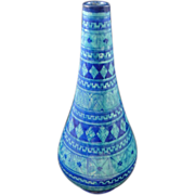 Moroccan Pottery Tall Vase Turquoise Blue Signed Safi - 20th Century, Morocco