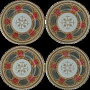 Set of 4 Aesthetic Moorish Islamic Pattern Gilt, Hand Painted Porcelain Pierced Plates - c. ..