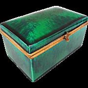 Paul Milet Sevres Sea Green Glaze Rectangular Porcelain Dresser Box / Casket Hinged Lid - c. .