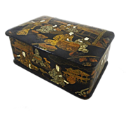 SOLD Japanese Black  Lacquer Papier Mache Hinged Lid Rectangular Box - c. Meiji,  Japan