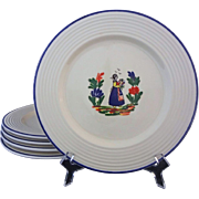 Set 5 French Provence Peasant Large Dinner Plates Varages Pottery Faience - 20th Century, Fran