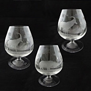 SOLD Set 3 Brandy Snifters Rowland Ward Nairobi Crystal Hand Etched Big Game Theme Impala Rhin