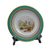 English Topographical Plate Kirkstall Abbey Gilt Turquoise Registry Mark - c. 19th Century, En