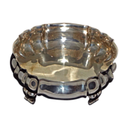 Antique Large Round Scalloped Footed Bowl / Centerpiece 800 Silver - late 19th/early 20th Cent