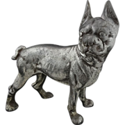 Boston Terrier Dog Silver Patina Door Stop