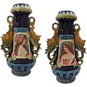 Pair Large Austrian Majolica Portrait Vases Winged Dragon Handles - c. 19th Century, Austria