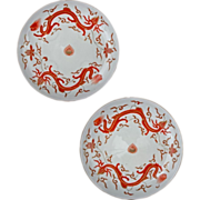 SOLD Pair of Chinese Daoguang Style Porcelain Iron Red Dragon Plates Kangxi Mark