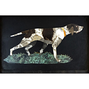 SOLD Italian Pietra Dura Hound Dog Picture - 20th Century, Italy