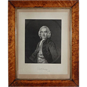 Portrait Daniel Twining Lithograph in Birdseye Maple Frame Antique - 19th Century, England