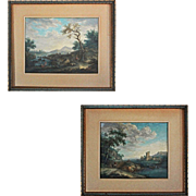 Pair of 18th Century Old Master Landscape with Figures Gouache Paintings Signed J. Burgi - 18t
