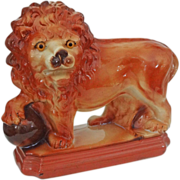 Large Staffordshire Lion and Orb Pottery Figurine Glass Eyes Rectangular Plinth - c. 1920's, .